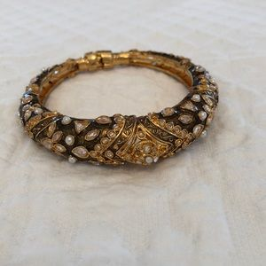 Jewelry - Ornate gold bangle bracelet with crystals
